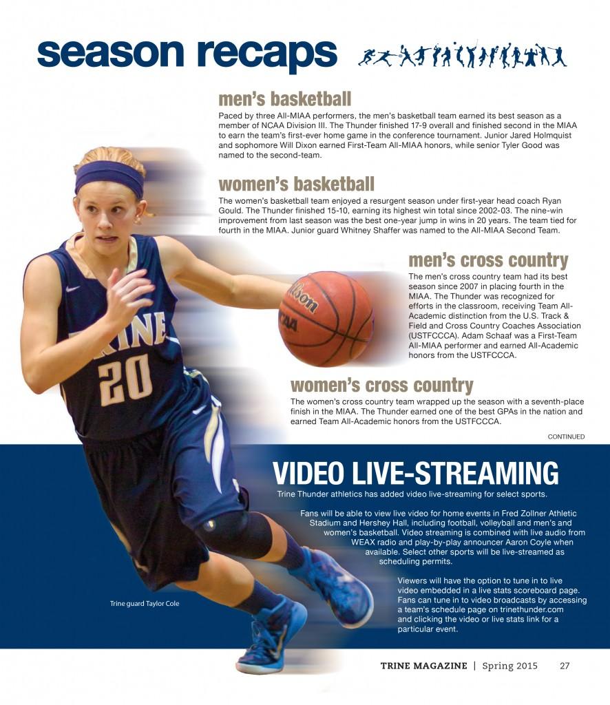 Trine Magazine Sports page