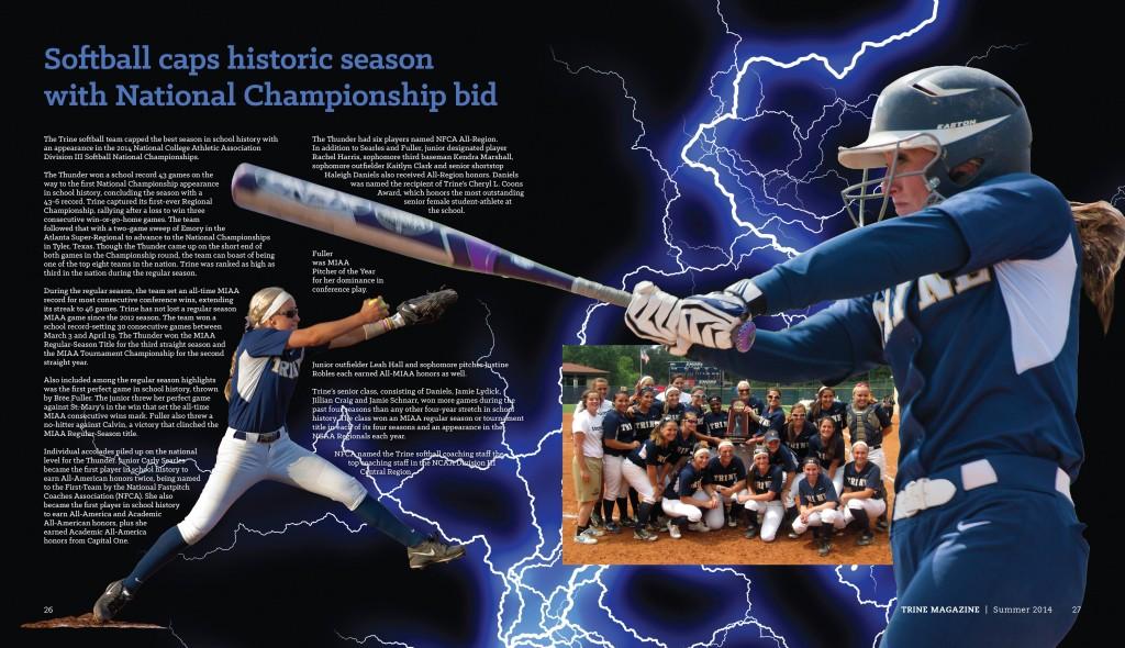 Trine Magazine softball spread